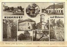 Na levém horním snímku je náves obce předúpravou. Vidíme zde zvoničku aobecní sýpku slípami: